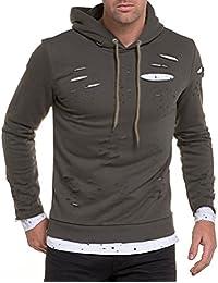 BLZ jeans - Sweat fashion kaki troué et t-shirt oversize blanc tacheté