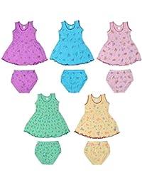 Sathiyas Akash 100% cotton Baby Girls Printed Dresses - (Set of 5) (IC401)