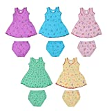 Sathiyas Akash 100% cotton Baby Girls Printed Dresses - (Set of 5) (IC401) (2-3 Years)