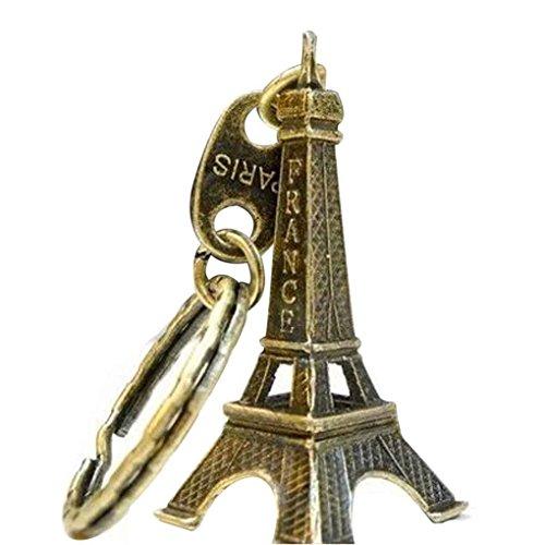 F-blue Llavero Torre Eiffel Modelo Retro Llavero de París Llavero Metal Clave de Split Anillo dominante de la Torre Llavero Lindo