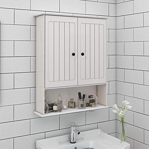 sogesfurniture BHUS-RF6343 Medizinschrank mit 2 Türen und 1 Regal, Landhaus-Kollektion, Wandschrank, Holz-Aufbewahrungsschränke, Organizer mit verstellbarem Regal, Weiß -