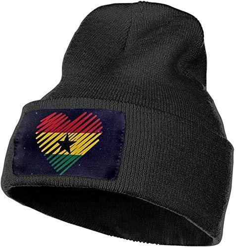 Sukaka Unisex Love Ghana Flag Herz Outdoor Fashion Strickmützen Mütze Soft Winter Skull Caps