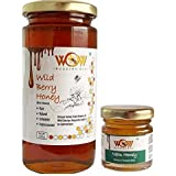 WOW BUZZING BEE Raw Honey - Wild Berry & Neem, Pack of 2 (1 - 550 GR and 1 - 55 GR)