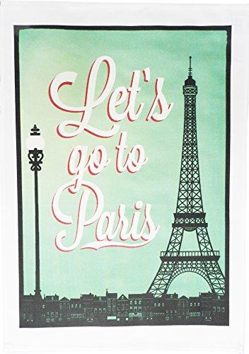 Let's go to Paris - Vintage Style Large Cotton Tea Towel by Half a Donkey Vintage Tea Towel