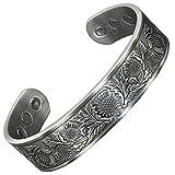 Bracelet Magnétique Celtique Bracelet Jonc Homme pour Toutes les tailles Bracelet Cuivre pur Six Aimants Super Cadeau pour Homme +Boîte Cadeau (STP)-Chardon Écossais (XL: Poignet 20,5-24cm)