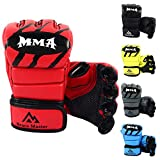 Brace Master MMA Gloves UFC Gloves Leather More Paddding for Men Women Knuckle Wrist Protection, Fingerless Sparring Gloves for Training, Mixed Martial Arts Rojo, L