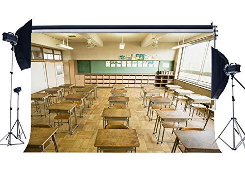 9X6FT Vinyl Back to School Backdrops Tafel Schreibtische Stühle Marmorboden Interieur Fotografie Hintergrund für Studenten Schule Willkommen Party Foto Studio Prop YX966 ()