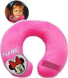 Unbekannt Nackenkissen / Nackenrolle -  Disney Minnie Mouse  - incl. Name - Kissen für Auto / Kindersitz - Reisekissen / Reisehörnchen - z.B. Flugzeug / Auto - Zugfah..