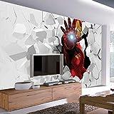 WLPBH Mural 3D Papier Peint Autocollant (W) 250X (H) 175Cm3D Iron Man Photo Papier Peint Peinture Murale Papier Peint Intérieur Art Décoration Garçon Enfant Chambre Tv