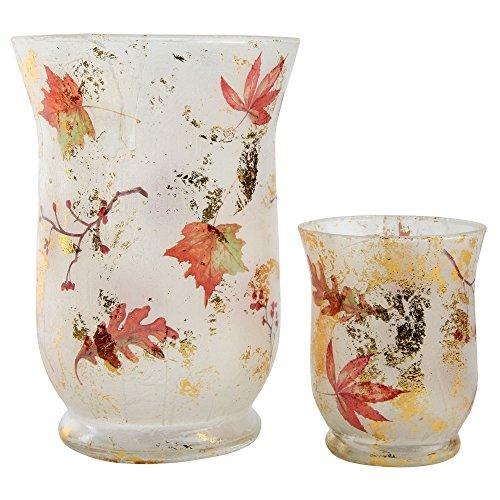 Autumnal patrón luz Portavelas de té de cristal, vidrio, 2 unidades