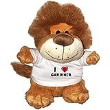 León de peluche (Fetzy) con Amo Gardiner en la camiseta (nombre de pila/apellido/apodo)