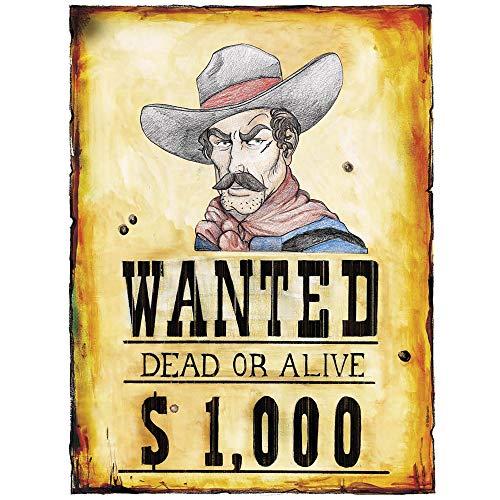 Motto Und Indianer Kostüm Cowboy - Widmann 5063P Poster Wanted, Unisex- Erwachsene, Braun