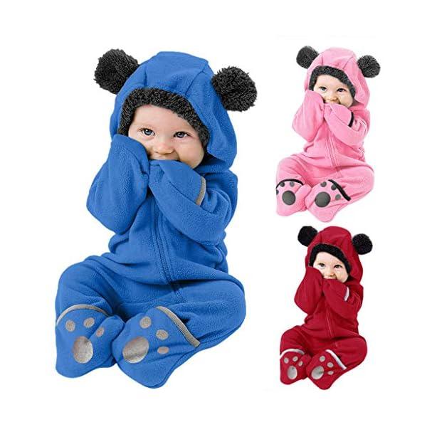 Mono de Punto Infantil Invierno Bebé Chicas Chicos Sólido Botón Dibujos Animados Cute Ears Hoodie Romper Ropa de Pata de… 2