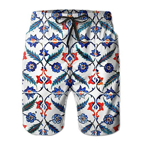 Vine Grafiken (Ye Hua Retro Floral Vines Pattern (2) Herren Badehose Sommer Cool Quick Dry Board Shorts Badeanzug mit Seitentaschen Netzfutter XXL)