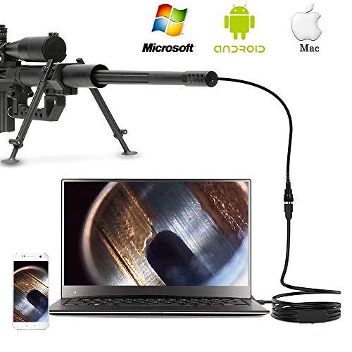 Anykit Gewehrendoskope USB-Endoskop für 0,5 cm Maschinengewehrlauf & Gewehrlauf Endoskopkamera mit Kurzer Fokussierung stabil Flexibler Kameraschlauch von 102 cm Länge für Windows Mac Android