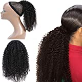 Morningsilkwig Afro Kinky Curly Clip Extensions Capelli Mollette Per Capelli Clip in Piena Testa 8pcs/120g Brasiliano Remy Fermaglio 120g (14 inches/35cm, 4b4c Afro Kinky Curly Ponytail)