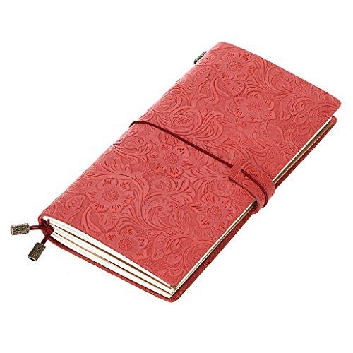 btsky Echt Leder nachfüllbar Traveler notebook-vintage & elegante Handarbeit Travel Journal, Verwendung als Skizzenbuch, Tagebuch, Notitzbuch, Zeichnen Pad–Perfekte Geschenk Idee rot (Leder Case Traveler Herren)