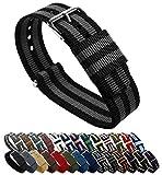 BARTON Watch Bands Uhrenarmband, Farb- und Längenauswahl (18 mm, 20 mm, 22 mm oder 24 mm), Bänder aus ballistischem Nylon, unisex, NBG20, Black/Smoke (Bond), 20mm - Standard (10