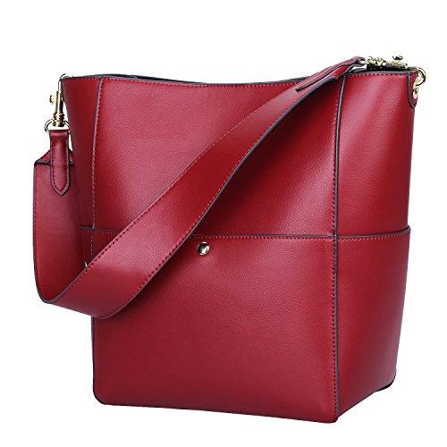 S-ZONE Frauen Farbblockierung Echtes Leder Schulter Beutel Handtaschen (Wein Rot) (Wein-rot-handtasche)