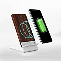 Wood Wireless Charger for iPhone X [FAST CHARGE] COOPER ECOSTAND Desk Wireless Charging Stand|iPhone 8 8 Plus, Samsung Galaxy Note 8, S8, S8 Plus, S7, S7 Edge, S6, S6 Edge Qi (Aluminum & Rosewood)