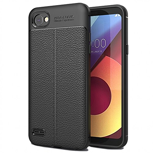 LG Q6 Hülle Leder-Look Handyhülle von NALIA, Ultra Slim Silikon Case Cover, Dünne Phone Schutzhülle, Stoßfeste Etui Handy-Tasche Back-Cover Bumper, TPU Gummihülle für LG Q-6 Smartphone - Schwarz
