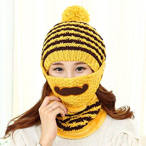 BTBTAV*Winter Mützen Kinder tide Bart stricken gestrickte Mütze warme Winter Herbst Masken die fusselfreien Kinder Kappen , Gelb + (Im Dress Alice Spiel Up Wunderland)