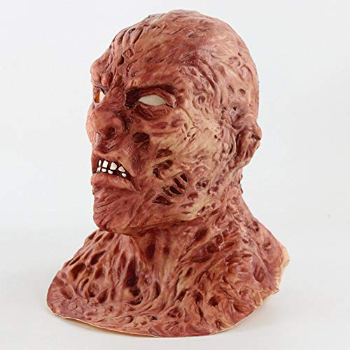 Zhanghaidong Mens Scary Verbrannter Mann Halloween Face Maske Kostüm Outfit Zubehör Film Halloween Horror Biochemie Zombie Gesicht Geist Maske Jason Zombie Dead Head Cover