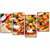 Pizza 3 - Quadro moderno intelaiato 152x78 cm stampa su tela quadri stampa moderni cena ristorante pizzeria locale pomodoro olive margherita arredamento cucina pub lounge bar wine gelateria casa wall art forniture canvas home decor arredo camera letto studio salotto ufficio