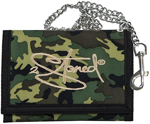 2Stoned Ketten-Geldbörse mit Stickmotiv Classic Logo in Camouflage für Herren und Jungen Classic Nylon Reißverschluss