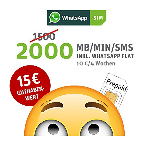 WhatsApp SIM Prepaid [SIM, Micro-SIM, Nano-SIM] - Starterpaket mit 15 EUR Guthabenwert, ohne Vertragsbindung, Option mit 2000 Einheiten für MB/MIN/SMS + EU inklusive, jederzeit kündbar, Surf-Geschwindigkeit: 21,6 MBit/s LTE (1mb-karte)