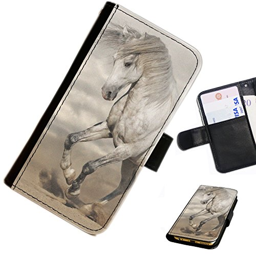 Hairyworm- Pferde Samsung Galaxy S7710 Xcover 2 (GT-S7710L) Leder Klapphülle Etui Handy Tasche, Deckel mit Kartenfächern, Geldscheinfach und Magnetverschluss.