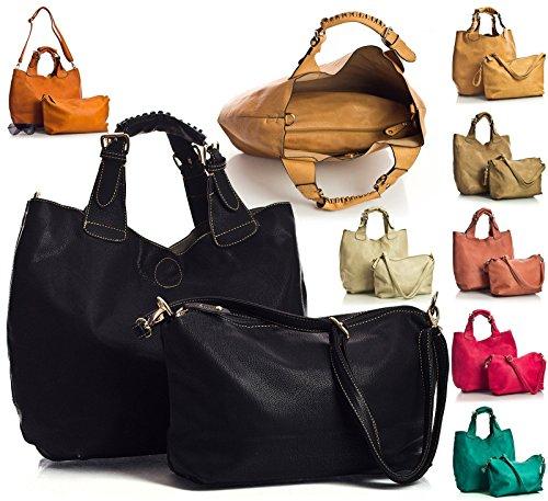 Big Handbag Shop - Sacchetto donna Blu (Turquoise - Zip Closing)