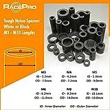 Racepro - 10x Schwarz Tough Nylon Kunststoff-Abstandhalter Standoff Unterlegscheiben, M10 5mm