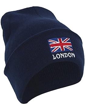 Gorro de punto con la bandera de Inglaterra y texto de London
