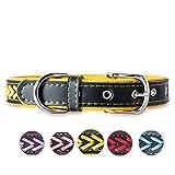 7Morning Leder Hundehalsband Hundemarke mit Personalisiert Edelstahlplatte,Gelb,L