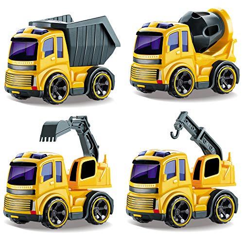 BeebeeRun Spielzeug 2 Jahre Junge Mädchen,Spielzeug 2 Jährige,Spielzeug 3 Jahre,Spielzeug Auto für Kinder,Bagger,Muldenkipper,Kranwagen,Mischer-LKW