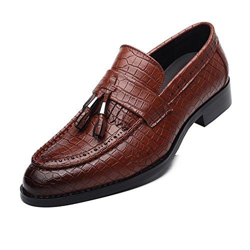Sunny&baby scarpe con tacco largo in pelle pu per uomo pelle di serpente texture mocassini superiori fodera foderata resistente all'abrasione (color : marrone, dimensione : 41 eu)