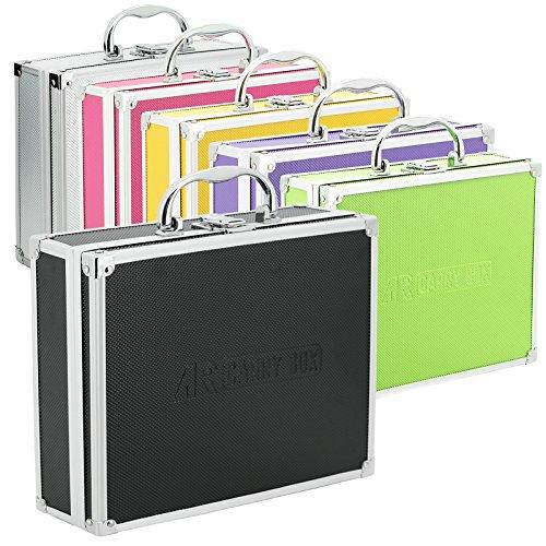 AR CarryBox® Kleiner Alukoffer Werkzeugkoffer Aluminium Koffer leer 260x210x80mm verschiedene Farben, Schwarz