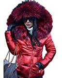 Aofur Damen Daunenjacke Jacke Winterjacke Damenjacke Steppjacke Mantel Jacke Kapuze mit Kunstpelz Hiver Manteau (50/Tag XXXL, Rot)