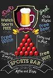 Sports Bar: Pool, pub sign, kneipe schild, barschild, schwarze schild aus blech, metal signs, tin