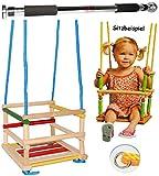 Unbekannt Gitterschaukel aus Holz + Türreck / Kinderschaukel - Leichter Einstieg ! - mitwachsend & verstellbar - Schaukel & Babyschaukel - Kleinkindschaukel verstellbar..