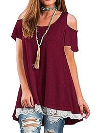 Sonnena vestido Mujer Blusa,Sonnena ❤ ❤ impresión hueca de encaje decoración Tops manga corta blusa para mujer y chica joven Suelto y…