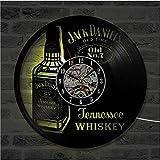 YUN Clock@ Wanduhr Aus Vinyl Schallplattenuhr Upcycling LED Jack Daniels Familien Dekoration 3D Design-Uhr Wohnzimmer Schlafzimmer Restaurant Wand-Deko Schwarz Ø: 30 cm