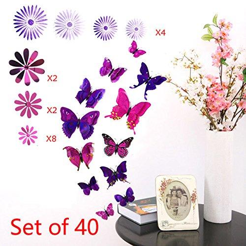 MW Creations 3D Adesivi Murali (Set di 40) - 12 Pezzi Doppio-Wing Farfalle con Magneti e 28 Pezzi Fiori con con Adesivo per decorazione della