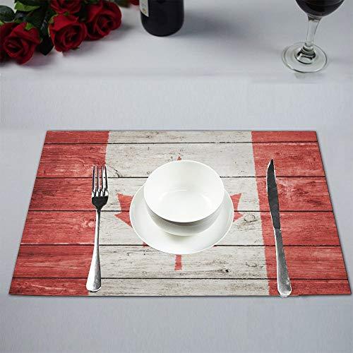 Soefipok Kanadische Kanada-Flagge auf hölzernem Hintergrund-Polyester-Gewebe-Tischset-Platten-Matten-Halter waschbarer wärmedämmender beständiger Tischsets-Schutz, Satz von 4 (Kanadische Platte)