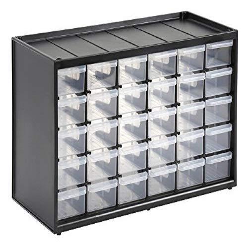 Stanley Kleinteilemagazin (36,5 x 15,5 x 22,5 cm, mit 30 Schubladen, bruchfester Kunststoffrahmen, transparente Schubladen, geeignet für Wandmontage) 1-93-980 -