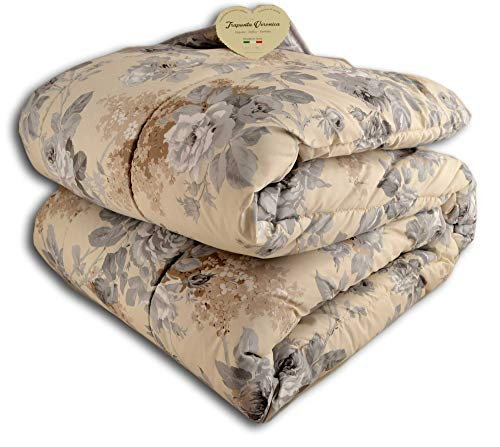 centesimo web shop trapunta piumone in 3 misure prodotta in italia invernale calore 5 floreale fiori rose classica grigia beige - grigio - matrimoniale