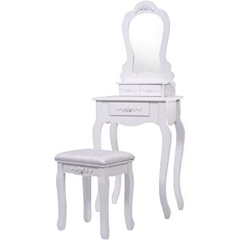 Blitzzauber24 Coiffeuse + Tabouret avec Miroir Table de Maquillage Commode  3 tiroirs MDF Blanc 7ae9a2daf7f9