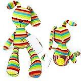 HENGSONG Farbstreifen Kaninchen Stofftier Plüschtiere Spielzeug Plüsch Stoffspielzeug für Baby