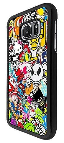 114 - Cool Funky Sticker Bomb Jdm Eat Sleep Design Samsung Galaxy S7 Edge G935 Coque Fashion Trend Case Coque Protection Cover plastique et métal - Noir